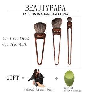 Image 3 - Beautypapa Juego de brochas de maquillaje, diseño de triángulo, pelo de cabra, colorete, sombra de ojos, profesional, hecho a mano