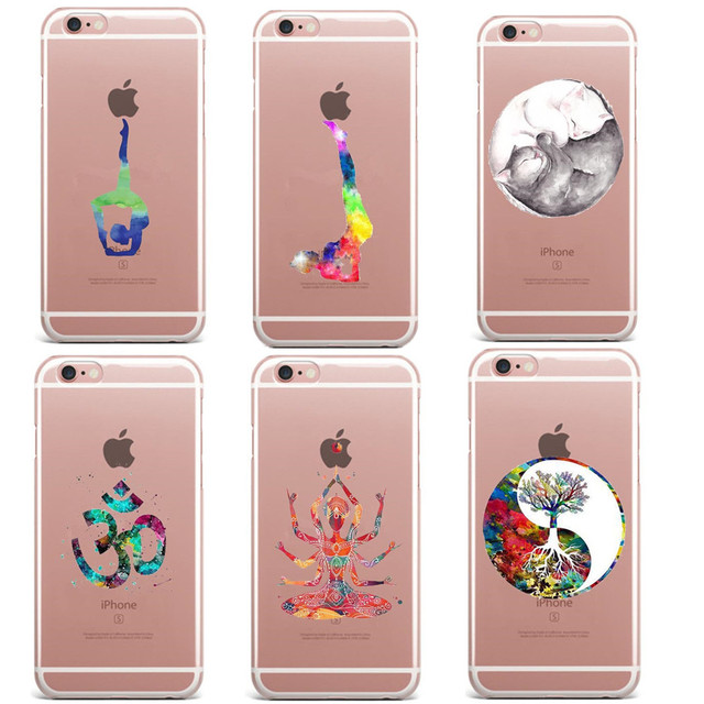 huge selection of ab184 0c782 US $2.07 39% OFF Watercolor Prince Cat Yoga sports girl Soft silicone TPU  Phone Case Cover For iPhone 5s 6s 6Plus SE 7 XS Max XR 8 8Plus X 10-in ...