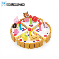 Dental House Wooden Baby Kitchen Toys Pretend Play Cutting Cake Play Food Kids Toys Wood Fruit