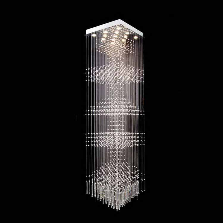 13 LED Bulbs W24 X H96 Crystal Chandelier Square Pendant Lamp RainDrop Hanging Suspension