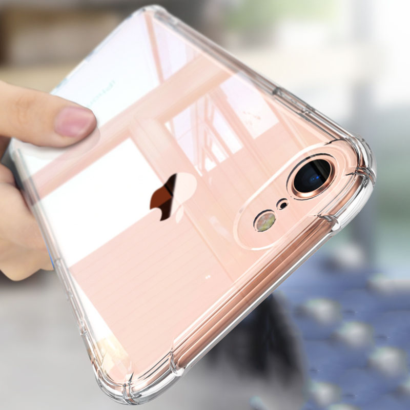 Full Protect Anti-knock TPU Silicone Case For iPhone 8 7 6 6S Plus Transparent Back Cover For iPhone6 Plus