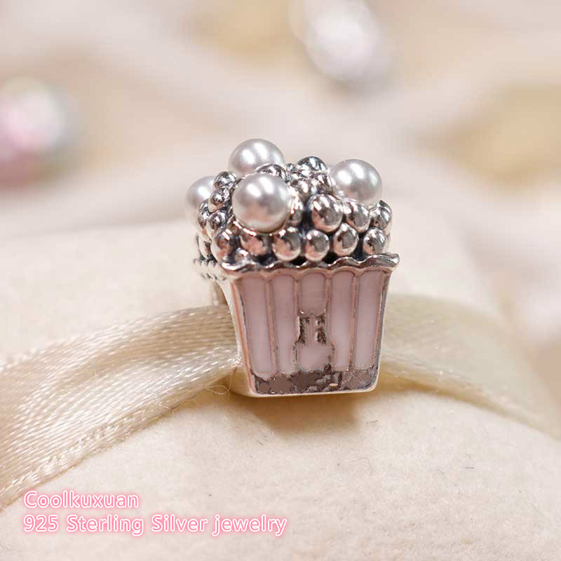 2019 Summer 925 Sterling Silver Delicious Popcorn Charm, Pale Pink Enamel & White Crystal Pearls Fit Pandora Charms Bracelet DIY