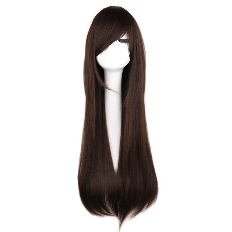QQXCAIW Long Straight Cosplay Wig Party Women Men Costume Dark Brown 80 Cm Synthetic Hair Wigs