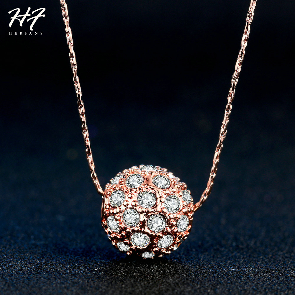 2018 New Rose Gold Color Chain Pendants Necklaces CZ Crystal Luckly Ball Fashion Jewelry For Women Wholesale N252