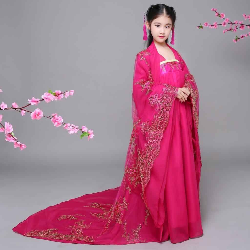 Kids Traditional Chinese Dance Costumes Tang Dynasty Princess Queen Hanfu Trailing Dress Chinese Folk Dance Costumes for Child