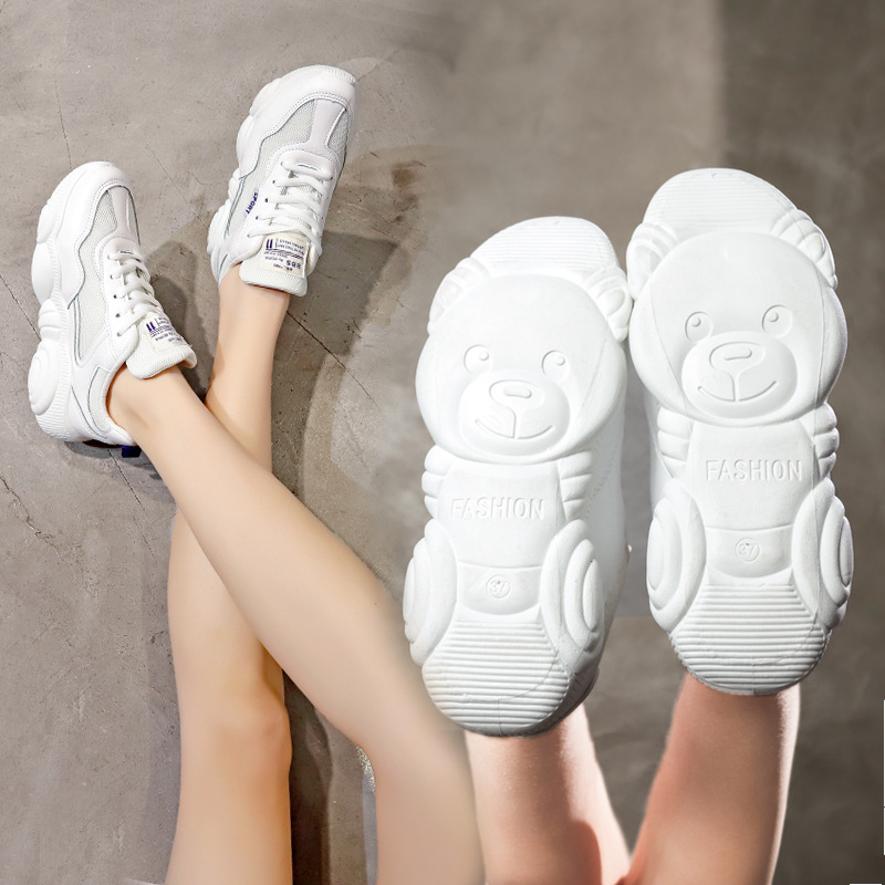 Bear Women Shoes 2019 Women Vulcanize Shoes Student Women Sneakers Platform Shoes Comfort Women Flats White Sneakers Footwear