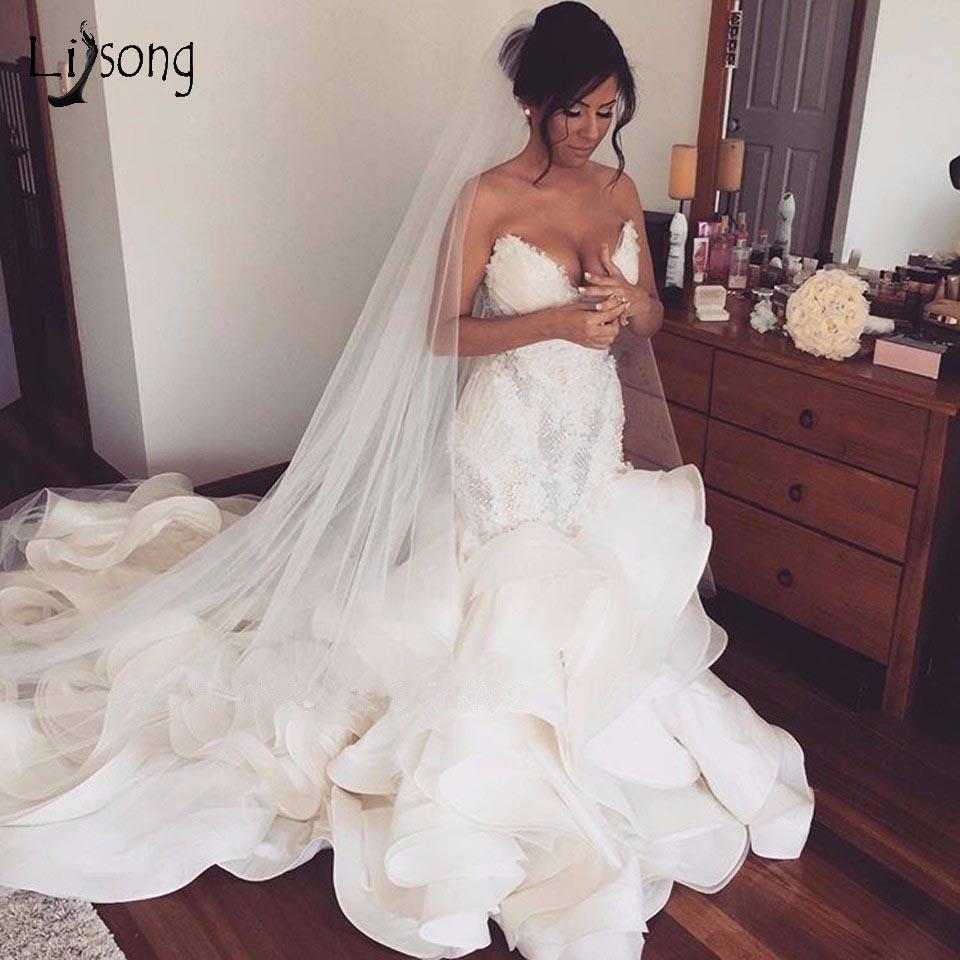Сексуальная оборками Свадебные платья Русалочки Кружева Аппликации Ruched Длинные платья невесты плюс Размеры Свадебные платья для любимой х