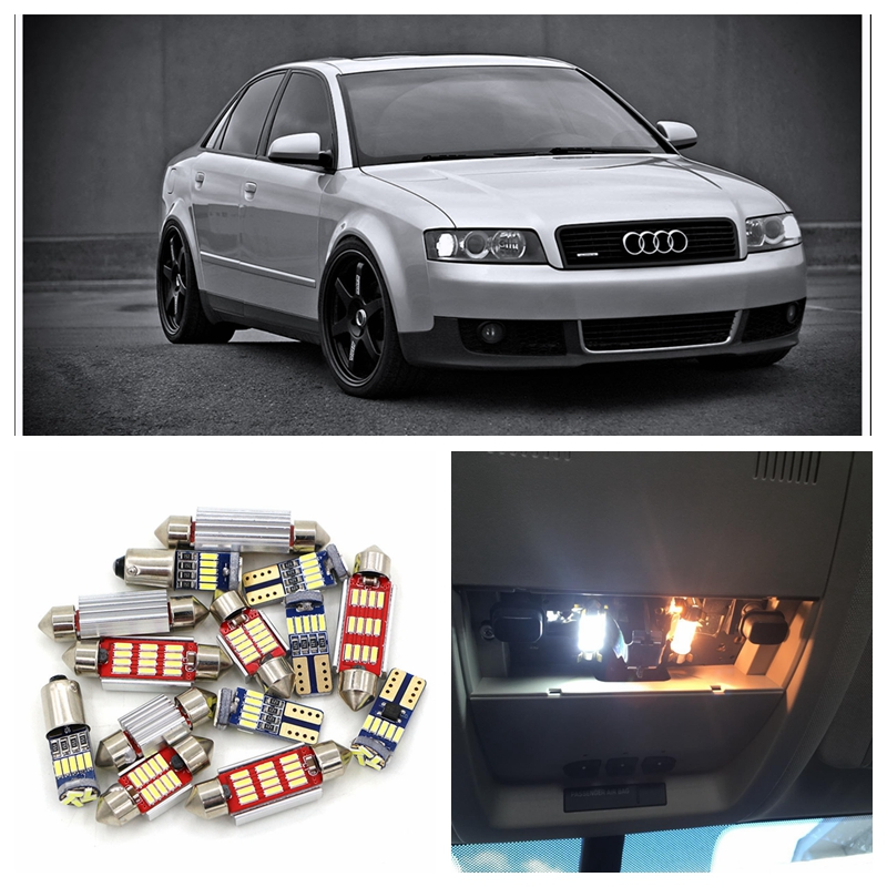 15pcs Super Bright White Canbus Car LED Light Bulbs Interior Package Kit For 2002-2004 Audi A4 B6 Map Door Visor mirrow Lamp 2pcs 12v 31mm 36mm 39mm 41mm canbus led auto festoon light error free interior doom lamp car styling for volvo bmw audi benz