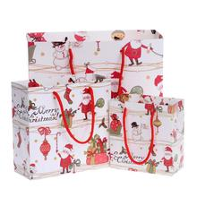 цена на 10pcs Santa Claus and Snowman Printed Cartoon Christmas Gift Candy Bag DIY Candy Cookie Biscuits Package Bag
