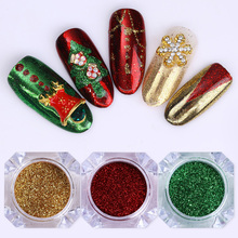 3 Boxes Christmas Mirror Nail Glitter Colorful Manicure Nail Art Chrom