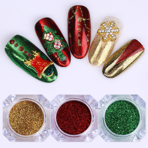 3 Boxes Christmas Mirror Nail Glitter Colorful Manicure Nail Art Chrome Pigment Paillette DIY Nail Powder Accessory Pakistan