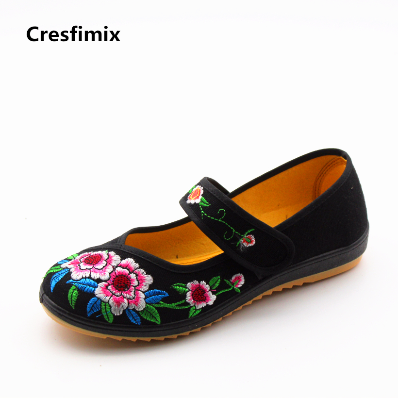 Cresfimix sapatos femininas women retro embroidery flat shoes lady soft hook & loop black shoes female cute summer dance shoes cresfimix sapatos femininas women casual soft pu leather flat shoes with side zipper lady cute spring
