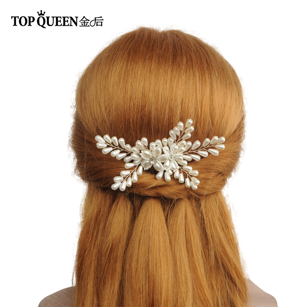 TOPQUEEN HP161 Handmade Wedding Headpiece Hair Comb With Drop-shaped Pearls And Diamonds Hair Accessories For Bridal Party