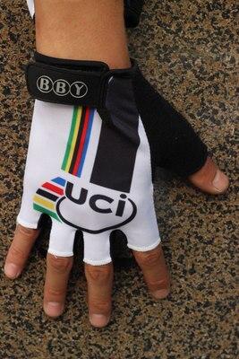 Prix pour 2013 Champion Du Monde UCI Blanc Cyclisme Vélo Gants Vélo Gel Finger Moitié Gants Une Paire Taille M-XL