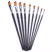 9PCS Black Nylon Oil Artist Paint Brush Set Nylon Hair Watercolor Acrylic Oil Painting Brushes Drawing Art Supplies(China)
