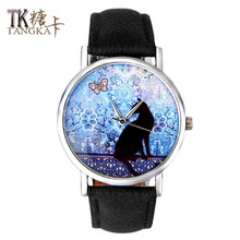 2016New fashion simple black cat watch girls Clockwise casual woman quartz watch high quality needle buckle leather strap