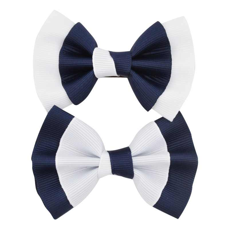 "2pcs/lot 3"" Little Girls Boutique White Navy Grosgrian Ribbon Hair Bow With Clip For School Children Hair Accessories Hairpins"