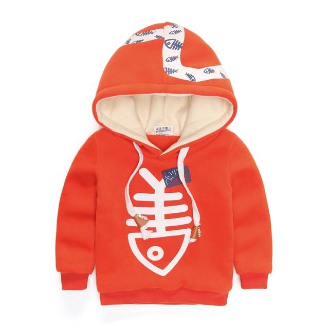 Do inverno do bebê menino camisola hoodies do velo dentro hoodies do pulôver da camisola esportes dos meninos dos desenhos animados top