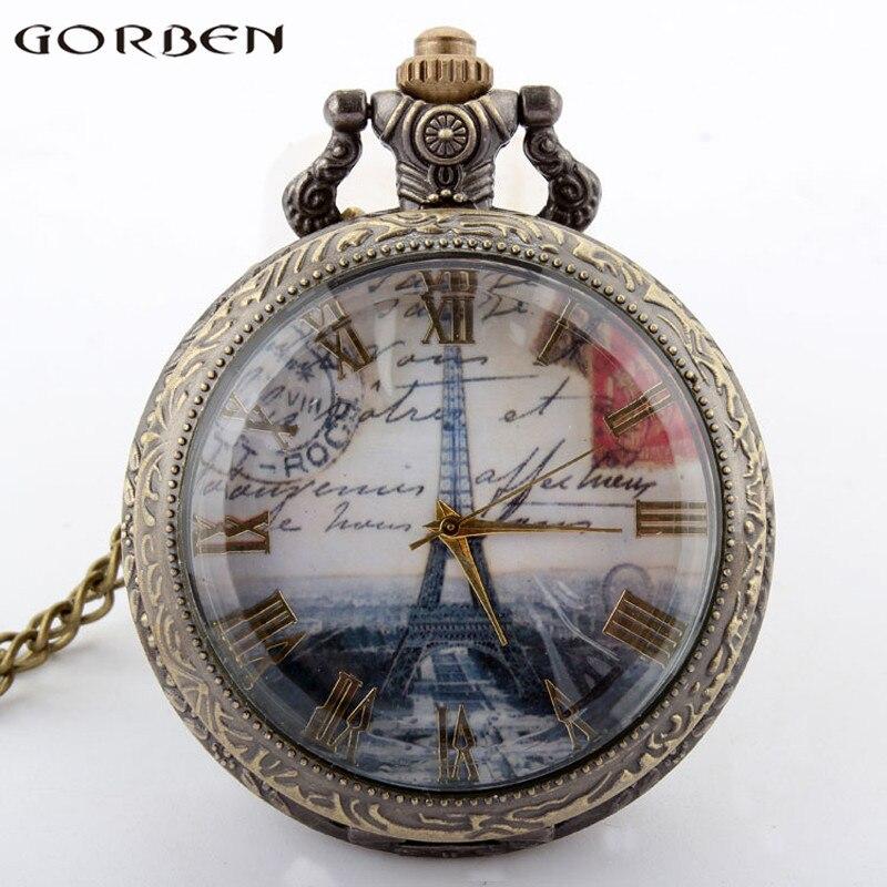 Eiffel Tower Pocket Watch Case Transparent Roman Numerals Smooth Surface Men Women Watch Casual Exquisite Quartz Pocket Watches