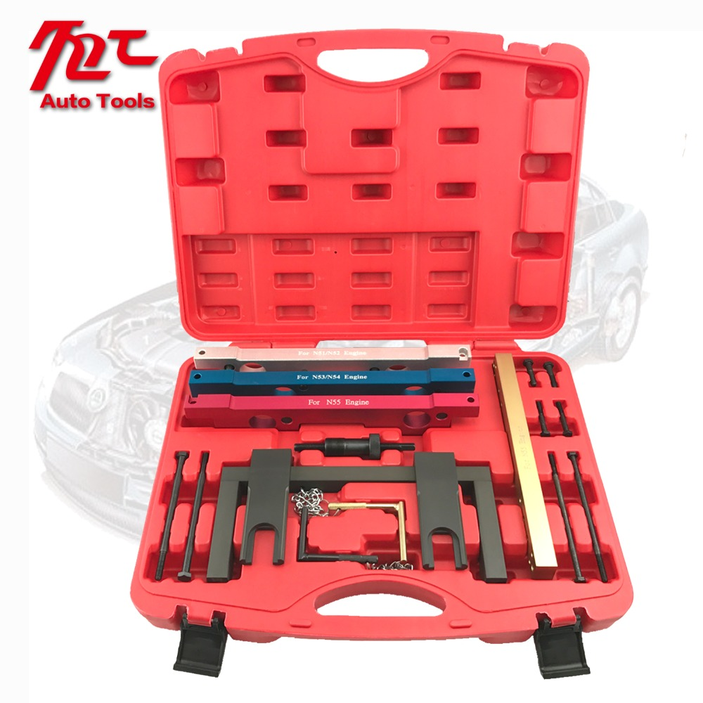 Car Garage Tools For BMW N51 N52 N53 N54 N55 Camshaft Vanos Flywheel Timing Tool Set Engine Timing Tools camshaft pulley wrench holder for subaru forester 3pcs set engine timing belt remove and install repair toolkit