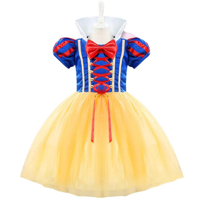 Fantasía infantil primcess blancanieves bebé bautismo vestidos juego de roles traje baby girl kids desgaste del partido primero cumpleaños del niño dress