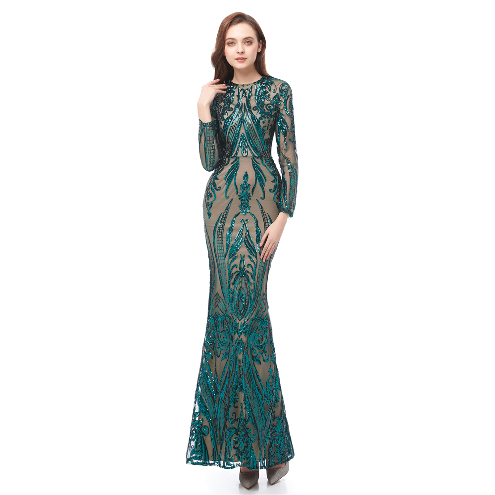 Eremald Green Mermaid   Prom     Dresses   with Detachable Train 2019 Luxury Sequins Applique Long Sleeve Lace Fishtail Evening Gowns