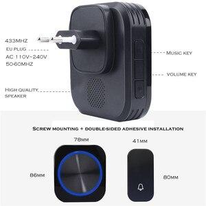 Image 5 - SMATRUL zelf aangedreven Waterdichte Draadloze Deurbel ring chime nachtlampje geen batterij EU plug Deurbel 1 knop 1 2 ontvanger 150M