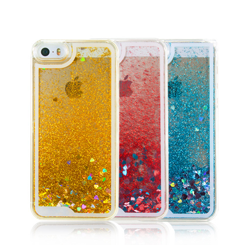 Fashion Fun Glitter Liquid Hourglass Hard Back Case Cover for iPhone 5 5S Transparent Clear Case