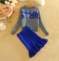 Plus Size Harajuku Suits Letter Pullover Crop Top and Skirt Set 2015 Autumn Winter Women Stylish Sets Vestidos