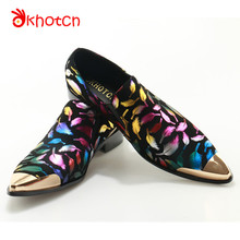 Okhotcn Man Moccasins Metal Head Vintage Leather Men Male Shoes Printed Party Wedding Handmade Loafers Flat Shoes Free Shipping