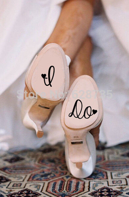 e2771defed085 US $1.16 |I Do Wedding Shoe Decal , Cute Vinyl Creative Novelty Shoe  Stickers for Wedding Accessories free shipping Y170805-in Wall Stickers  from Home ...