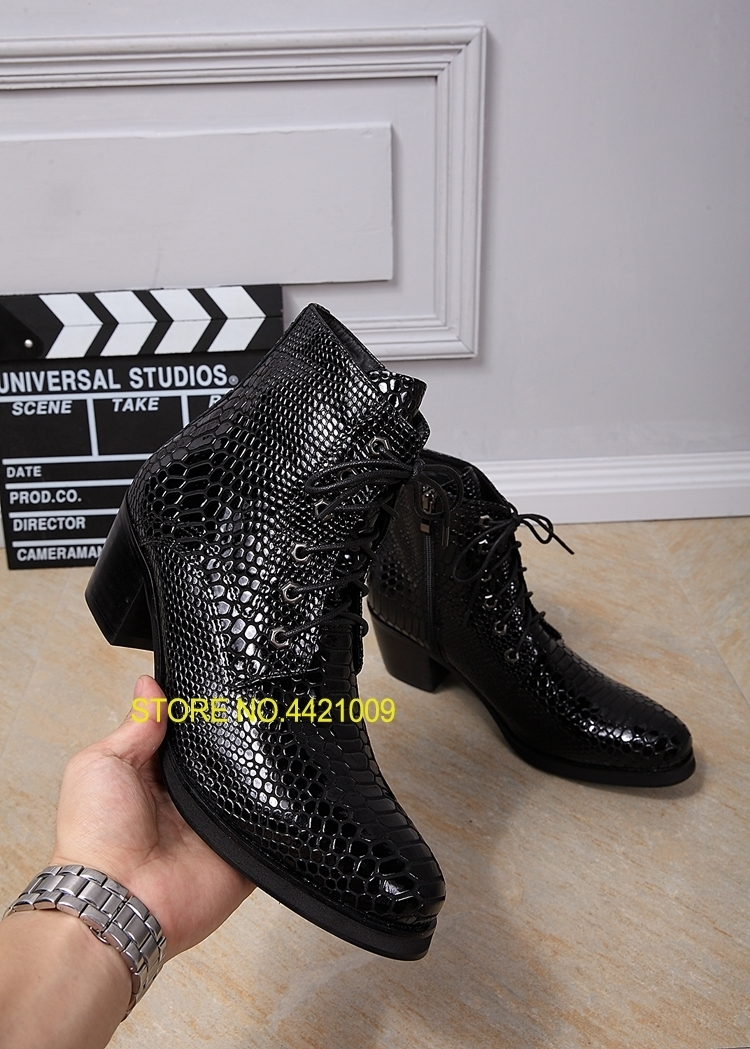 python skin cowboy boots Mens shoes high heel black mens ankle boots chelsea bota masculina lace up winter shoes men motorcyclepython skin cowboy boots Mens shoes high heel black mens ankle boots chelsea bota masculina lace up winter shoes men motorcycle