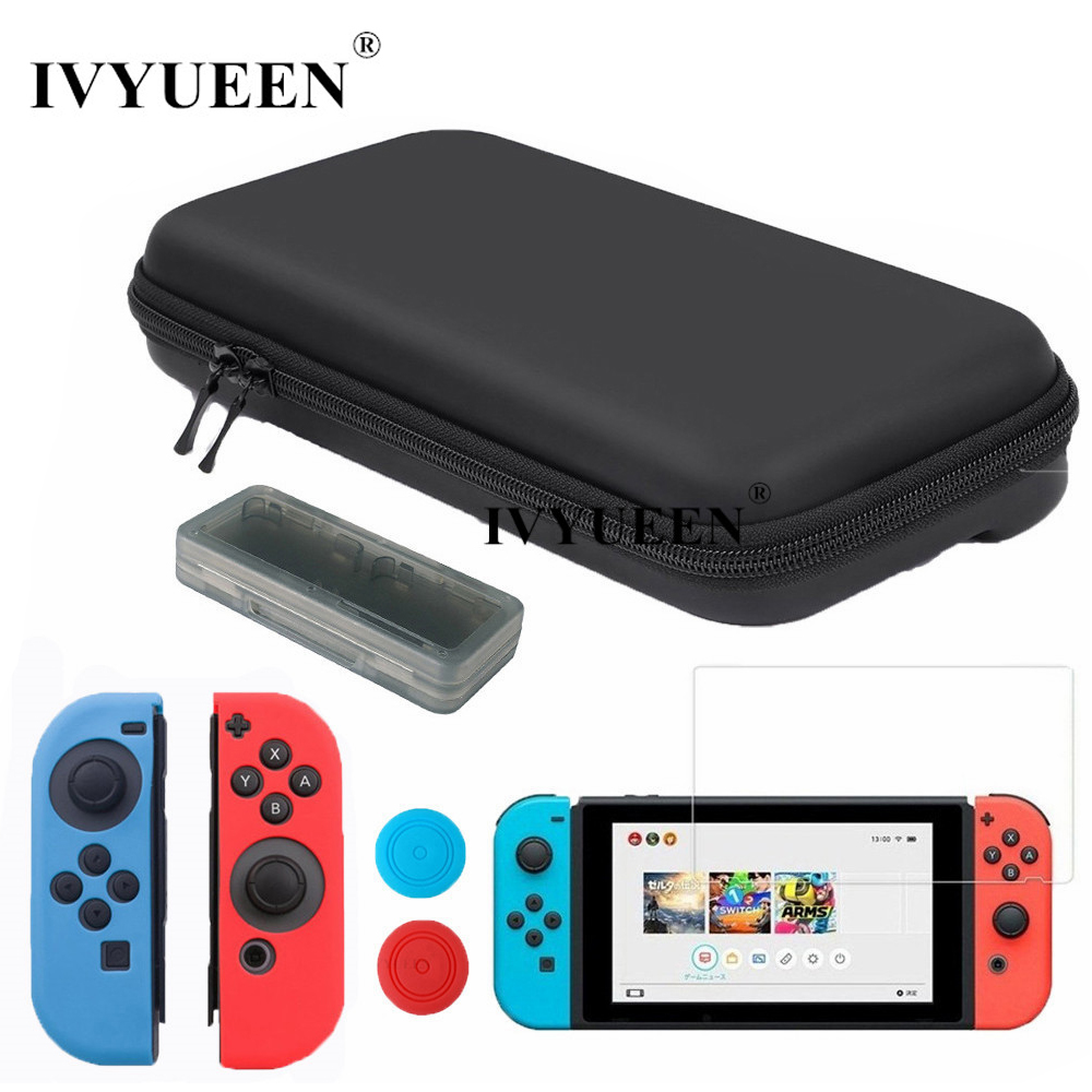купить IVYUEEN Storage Bag for Nintend Switch NS Console Tempered Glass Screen Protector Silicone Case Skin for Joy Con Controller по цене 635.1 рублей