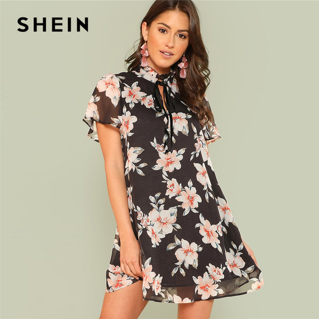 5d3e1fa9a6e SHEIN Frilled Tie Neck Floral Dress 2018 Summer Stand Collar Short Sleeve  Dress Women Black Vacation