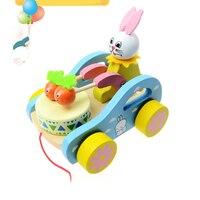 Brinquedos Para Meninos Coelho Branco Puxar Carrinho de Brinquedo Carrinho de Bebê de Carro Da Criança Brinquedos De Madeira Para Crianças