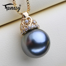 FENASY 18K Gold Crown Pendant Big Round Tahitian Black Pearl Elegant Dinner Party Engagement Wedding Jewelry With Silver Chain(China)