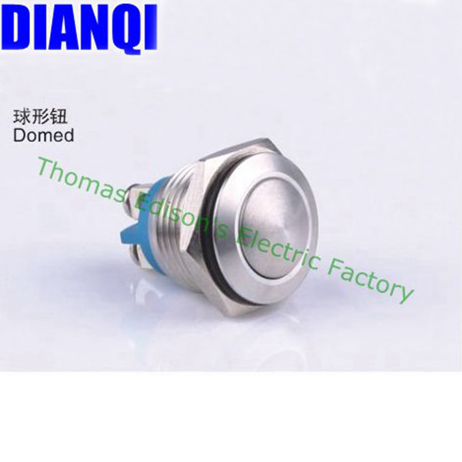 16mm metal push button waterproof nickel plated brass car button switch press button 1NO domed head momentary 16QX,F.KL