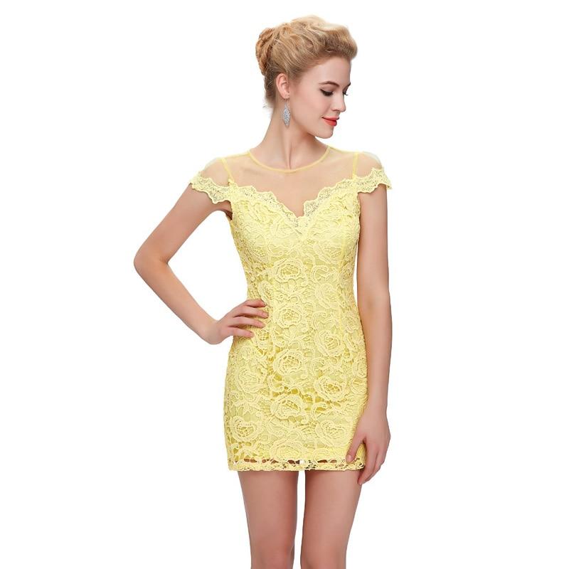 Aliexpress.com : Buy Yellow Lace Summer Dresses 2016 Cap Sleeve ...