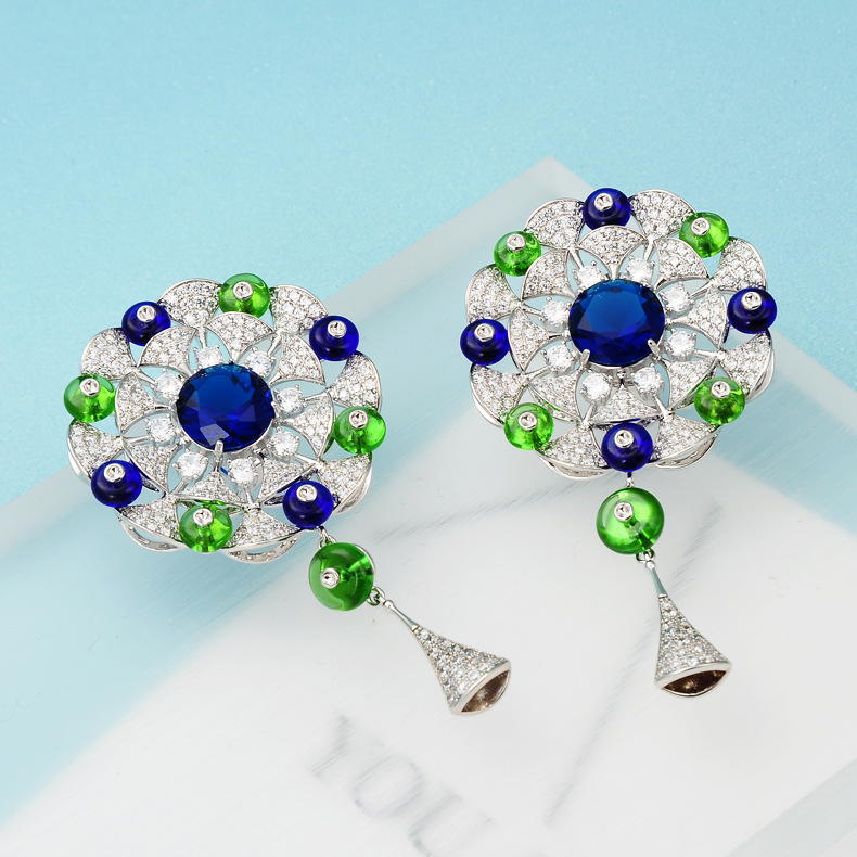 1 Pair Vintage Earrings For Women Austrian crystal beads earrings Bead Large Bohemia Earrings Statement Jewelry
