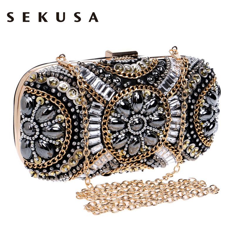 SEKUSA  Womens Crystal Evening bag Retro Beaded Clutch Bags Wedding Diamond Beaded Bag Rhinestone Small Shoulder Bags