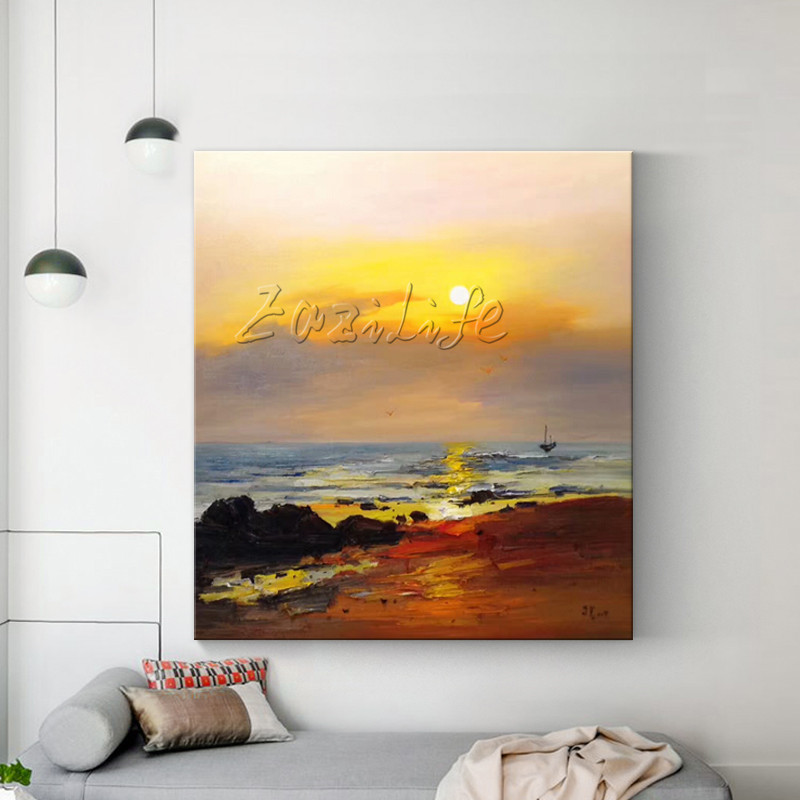 Us 67 15 15 Off Canvas Painting Abstract Seascape Painting Acrylic Painting Wall Art Pictures For Living Room Home Decor Cuadros Decoracion003 In