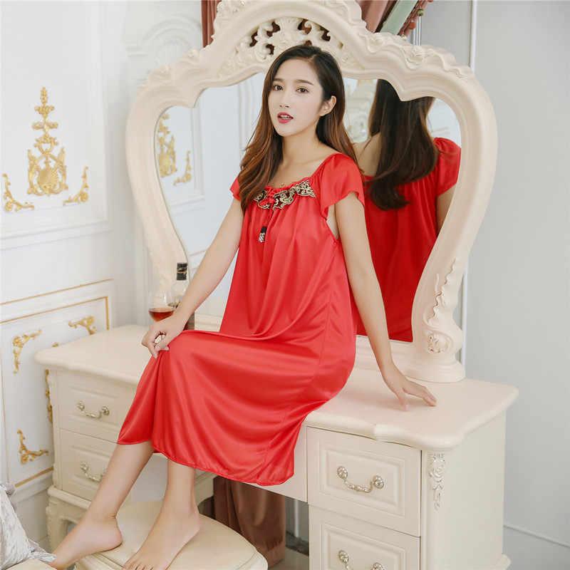 1e3553b5cb3d ... Summer Sexy Female Night Dress Lounge Sleepwear Long Design Loose Female  Ice Silk Lace Princess Nightgown ...