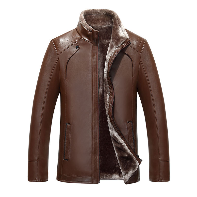 2017 new Quality artificial leather men's stand collar Faux Leather fur coat thick leather jacket fleece winter overcoat