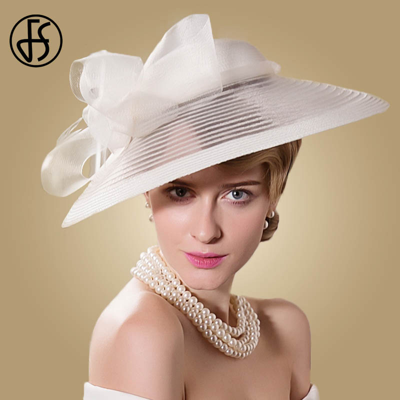 FS 黒白結婚式大型ワイドつばの女性の帽子ヴィンテージ Fedoras エレガントな弓ケンタッキーダービー教会ティーパーティー帽子 feutre  グループ上の アパレル アクセサリー からの フェドーラ の中 1