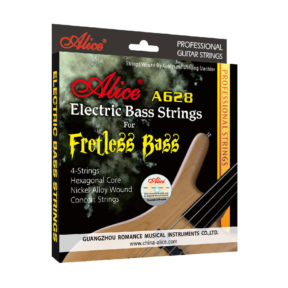 Alice A628 Fretless 4 Electric Bass Strings Full Set 4 Strings Hexagonal Core Nickel Alloy Wound Gold Ball-End alice a704 senior performance violin strings set