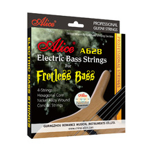 Alice A628 Fretless 4 Electric Bass Strings Fuld Set 4 Strenge Sekskant Kerne Nikkel Alloy Wound Gold Ball-End
