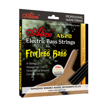 Alice A628 Fretless 4 Electric Bass Strings Full Set 4 Strings Hexagonal Core Nickel Alloy Wound Gold Ball-End orphee nano coating electric bass strings for 4 5 6 strings bass hexagonal core 100