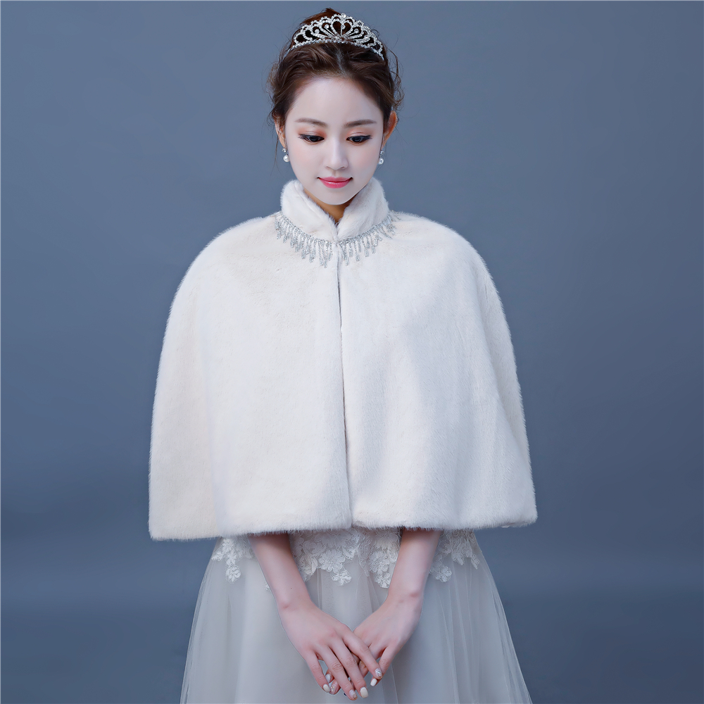 Elegance Bridal Wedding Wrap Shawl Faux Fur Warm Short Capes Winter Fashion Women Cloak Accessories For Evening Party Handmade