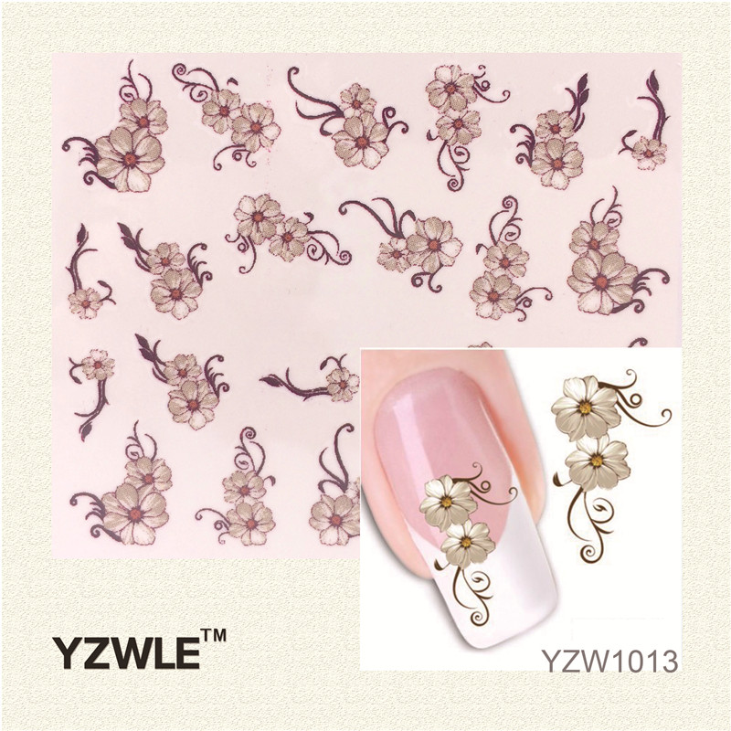 YZWLE 1 Sheet Fashion 3D Design Daisy Flower Watermark Nail Decals, DIY Water Transfer Nail Stickers Manicure Tools yzwle 1 sheet hot gold 3d nail art stickers diy nail decorations decals foils wraps manicure styling tools yzw 6015