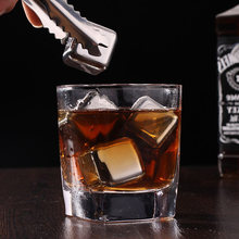 Sale 1PC Hot Stainless Steel Whisky Ice Cubes Quick Freezing Wine Beer Cooler Liquor Cooling Rocks KTV Accessories(China)